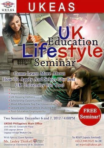 UKEAS UK EDUCATION LIFESTYLE SEMINAR - December 6 and 7th!