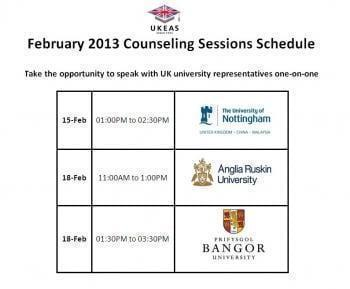 February 2013 University Representatives Schedules