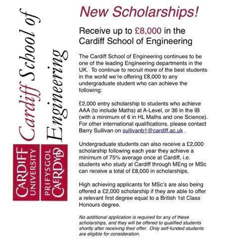 Cardiff School of Engineering Scholarship Opportunities!